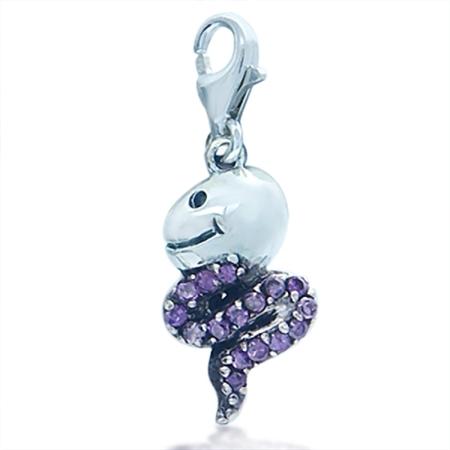 Cute Amethyst Purple Cubic Zirconia (CZ) Sterling Silver Snake Dangle Charm