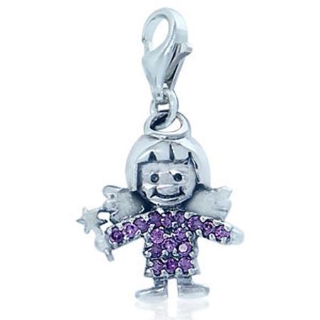 Lovely Amethyst Purple Cubic Zirconia (CZ) Sterling Silver Angel Dangle Charm