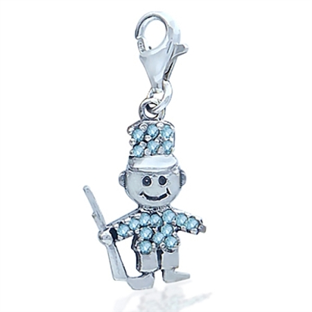 Cute Topaz Blue Cubic Zirconia (CZ) Sterling Silver Soldier Dangle Charm