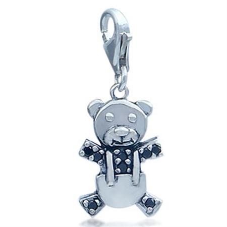 Adorable Black Cubic Zirconia (CZ) Sterling Silver Teddy Bear Dangle Charm
