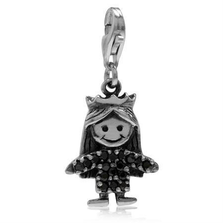 Black CZ 925 Sterling Silver GIRL Dangle Charm