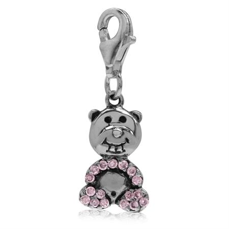 Pink CZ 925 Sterling Silver TEDDY BEAR Dangle Charm