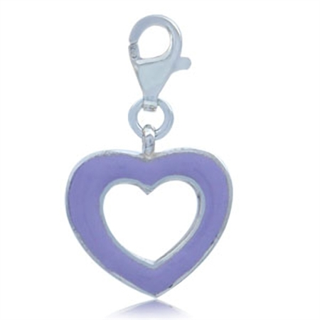 Nagara Purple Enamel Heart 925 Sterling Silver Dangle Charm