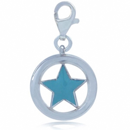Turquoise Blue Enamel 925 Sterling Silver STAR Dangle Charm