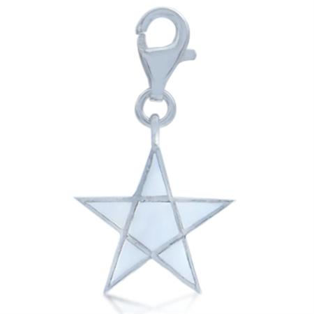 AUTH Nagara White Enamel STAR Sterling Silver Dangle Charm