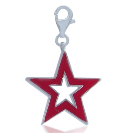 AUTH Nagara Red Enamel Trendy Star Sterling Silver Dangle Charm
