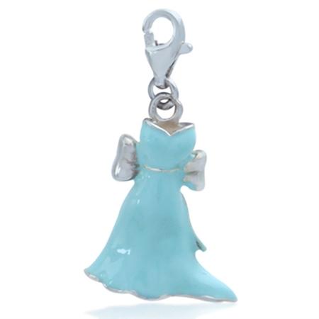 Nagara Blue Ribbon Dress GOWN Sterling Silver Dangle Charm