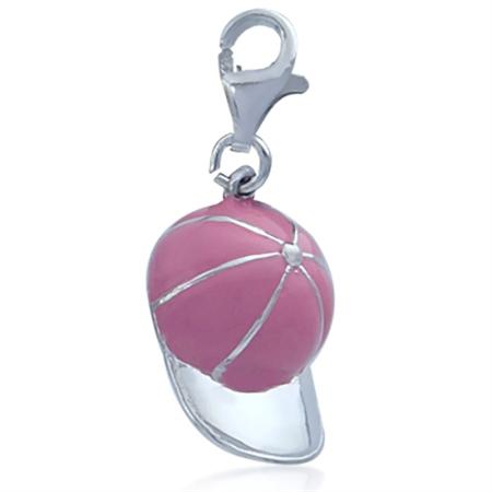 Nagara Pink Baseball Cap 925 Sterling Silver Dangle Charm