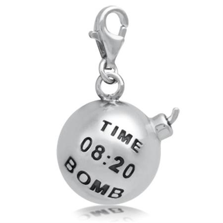 Nagara Dynamite TIME BOMB 925 Sterling Silver Dangle Charm