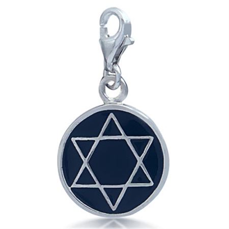 Black Enamel 925 Sterling Silver STAR OF DAVID Dangle Charm