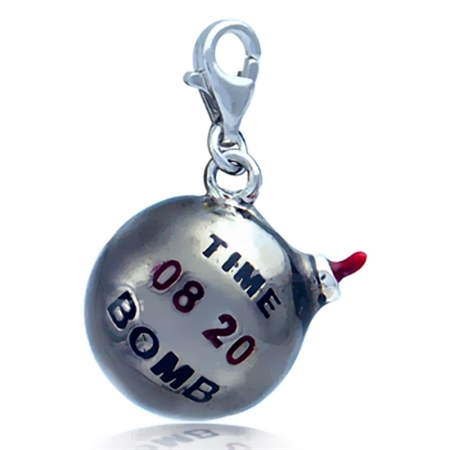 Nagara Dynamite TIME BOMB 925 Sterling Silver Dangle Charm
