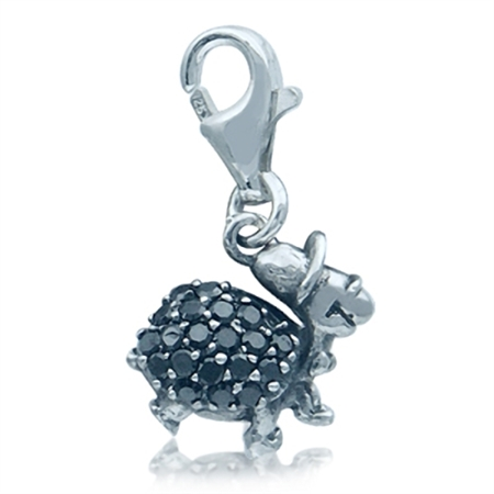 Adorable Black Cubic Zirconia (CZ) Sterling Silver Turtle Dangle Charm