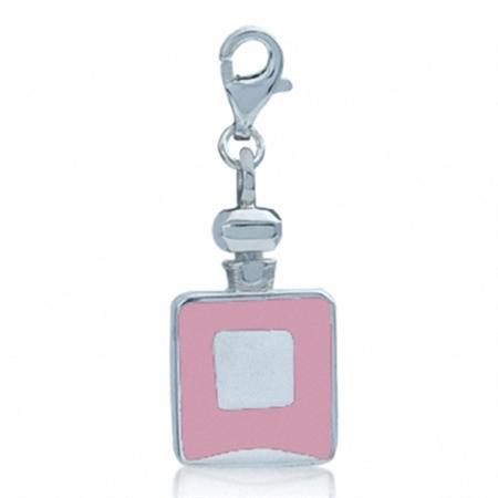 Nagara Pink Enamel Perfume Bottle Sterling Silver Dangle Charm
