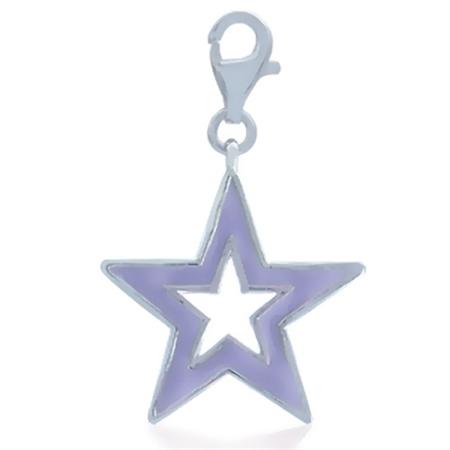 AUTH Nagara Purple Enamel Trendy Star Sterling Silver Dangle Charm