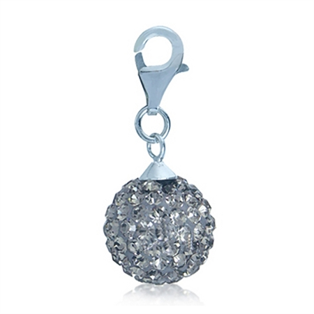 Nagara Black Diamond Crystal Ball Sterling Silver Dangle Charm
