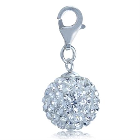 Nagara White Crystal Ball 925 Sterling Silver Dangle Charm