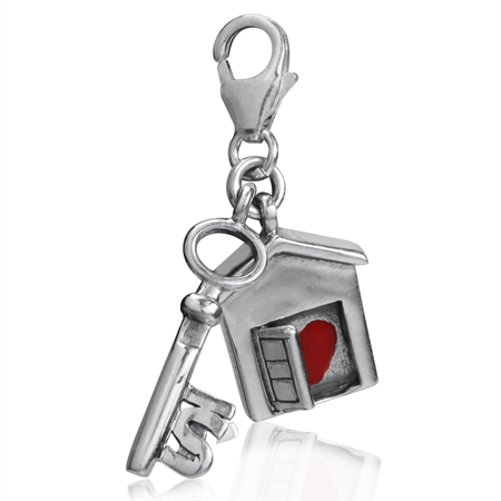 AUTH Nagara Red Enamel Heart 925 Sterling Silver House & Key Dangle Charm