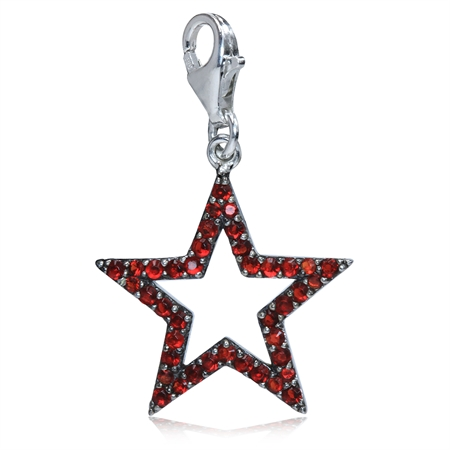 Ruby Red CZ White Gold Plated 925 Sterling Silver STAR Dangle Charm