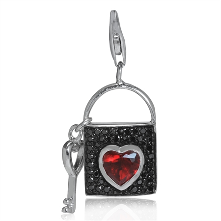 Heart Shape Ruby Red CZ & Black CZ White Gold Plated 925 Sterling Silver LOCK & KEY Charm
