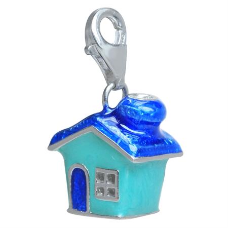 Green & Blue Enamel 925 Sterling Silver HOME HOUSE Dangle Charm