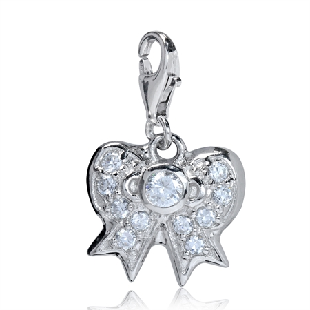 CZ White Gold Plated 925 Sterling Silver RIBBON BOW Dangle Charm