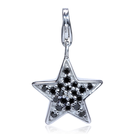 Black CZ White Gold Plated 925 Sterling Silver STAR Dangle Charm