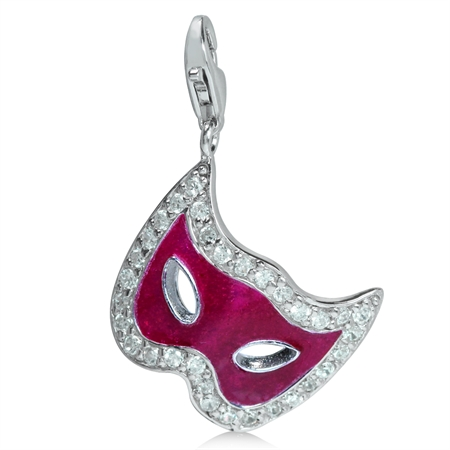 White CZ & Pink Enamel 925 Sterling Silver MARDI GRAS MASK MASK Dangle Charm