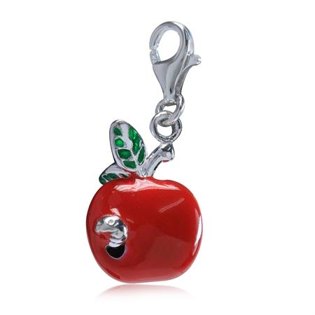 Red & Green Enamel 925 Sterling Silver APPLE & WORM Dangle Charm