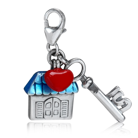 Red & Blue Enamel 925 Sterling Silver HOUSE, HEART & KEY Dangle Charm