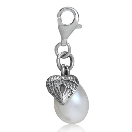 Cultured White Pearl 925 Sterling Silver ANGEL WING HEART Dangle Charm