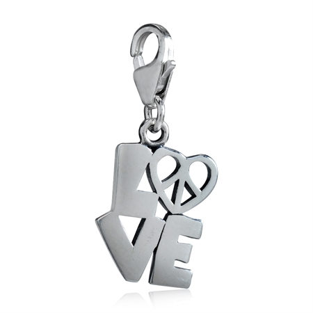 AUTH Nagara 925 Sterling Silver LOVE & PEACE SIGN HEART Dangle Charm