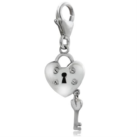 925 Sterling Silver HEART LOCK & KEY Dangle Charm