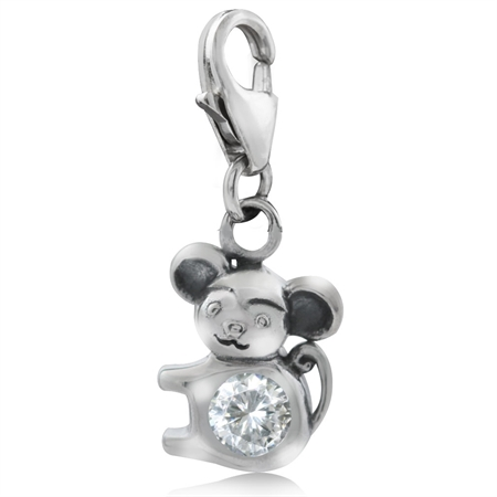 White CZ 925 Sterling Silver Chinese Zodiac MONKEY Dangle Charm
