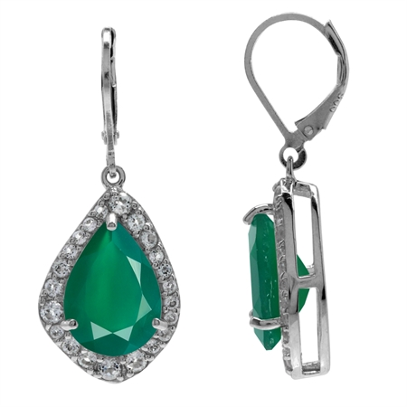 HUGE 9.18ct. Emerald Green Agate & White Topaz Gold Plated 925 Sterling Silver Leverback Earrings