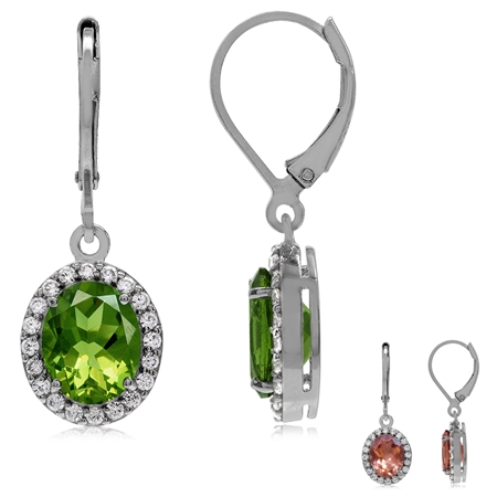 Synthetic Color Change Diaspore White Gold Plated 925 Sterling Silver Glamorous Leverback Earrings
