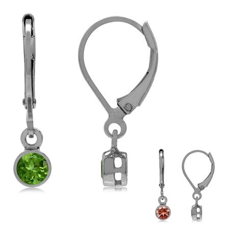 3MM Extra Petite Synthetic Color Change Diaspore 925 Sterling Silver Bezel Set Leverback Earrings