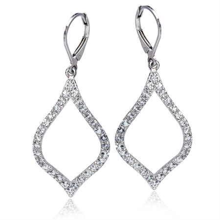 2.4ct. Genuine White Topaz Gold Plated 925 Sterling Silver Drop Leverback Earrings