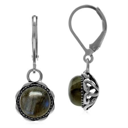 Natural Labradorite 925 Sterling Silver Filigree Leverback Dangle Earrings