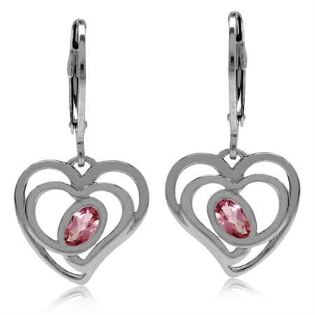 Natural Pink Tourmaline White Gold Plated 925 Sterling Silver Heart Leverback Dangle Earrings