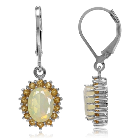 Genuine Opal & Citrine White Gold Plated 925 Sterling Silver Flower Cluster Leverback Earrings