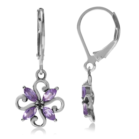 Natural Amethyst White Gold Plated 925 Sterling Silver Victorian Style Flower Leverback Earrings