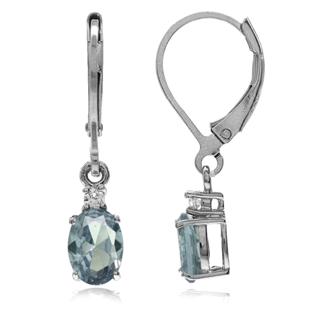 Simulated Color Change Alexandrite White Gold Plated 925 Sterling Silver Leverback Earrings