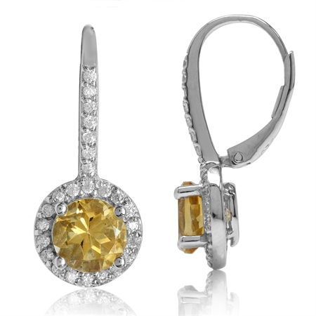 2.36ct. 7MM Natural Round Citrine White Gold Plated 925 Sterling Silver Halo Leverback Earrings