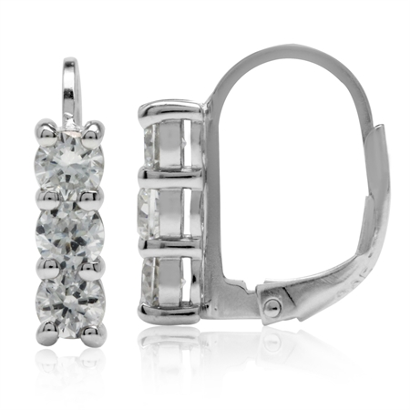 3-Stone CZ White Gold Plated 925 Sterling Silver Leverback Earrings