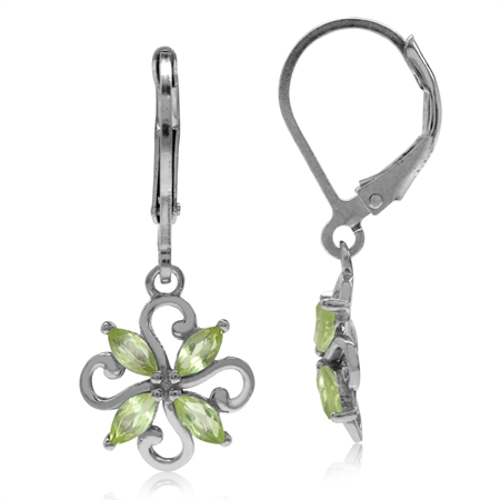 Natural Peridot White Gold Plated 925 Sterling Silver Victorian Style Flower Leverback Earrings