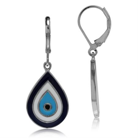Blue & White Enamel 925 Sterling Silver Evil Eye Drop Shape Leverback Dangle Earrings