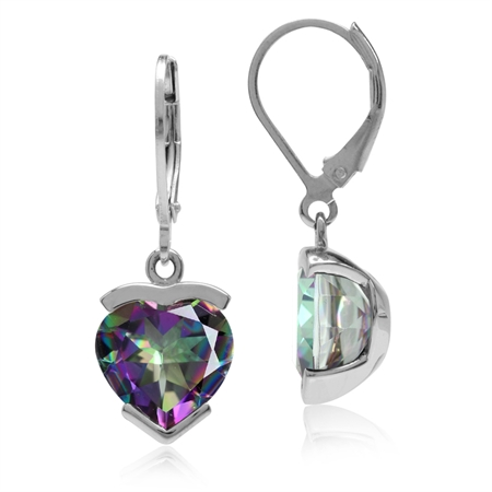 8.2ct. Heart Shape Mystic Fire Topaz White Gold Plated 925 Sterling Silver Leverback Dangle Earrings