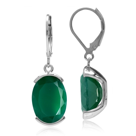 10.34ct. Natural Emerald Green Agate White Gold Plated 925 Sterling Silver Leverback Dangle Earrings