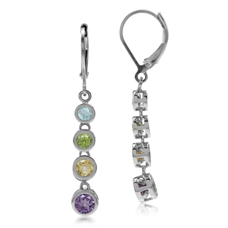 Topaz Peridot Citrine Amethyst 925 Sterling Silver Elongated Journey Dangle Leverback Earrings