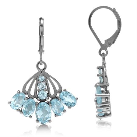 7.22ct. Genuine Blue Topaz White Gold Plated 925 Sterling Silver Fan Shape Leverback Dangle Earrings
